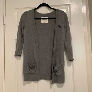 Abercrombie kids grey and navy long cardigan